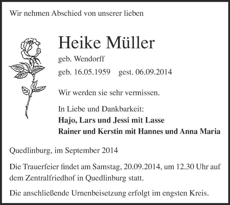 Traueranzeigen Von Heike Muller Www Abschied Nehmen De