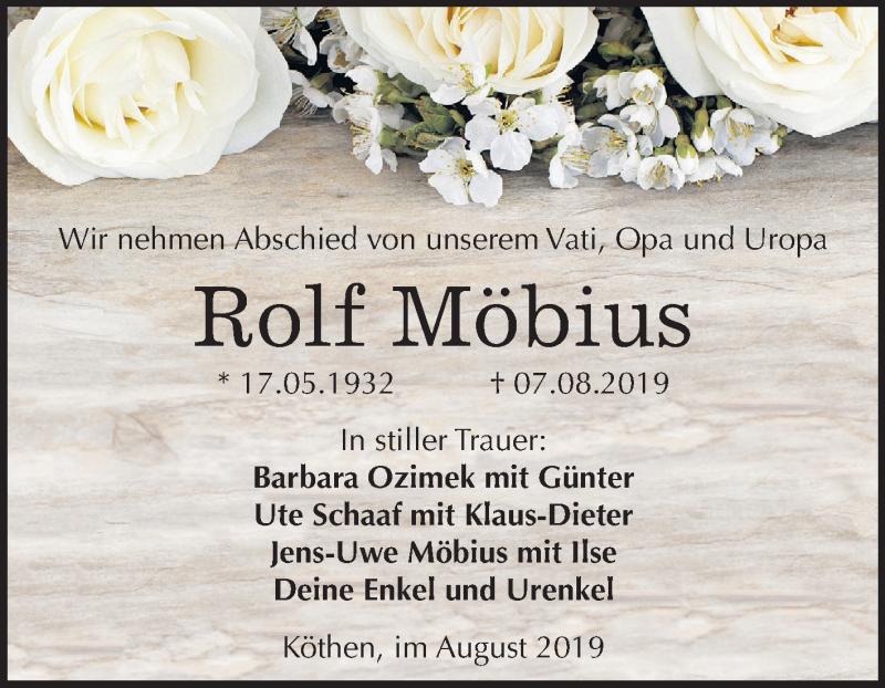 Gedenkseite von Rolf Möbius   www abschied-nehmen de